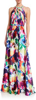 Geometric Watercolor Printed Charmeuse Halter Gown