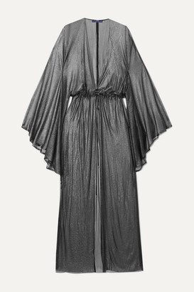 ELENA MAKRI Nemesis Pleated Metallic Silk-tulle Robe - Silver