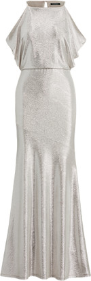 Ralph Lauren Metallic Cold-Shoulder Gown