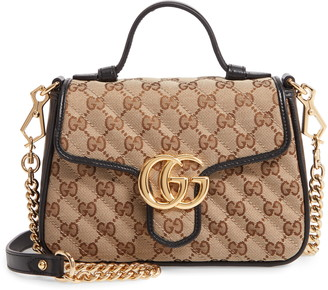 Gucci Mini GG 2.0 Quilted Canvas Top Handle Bag