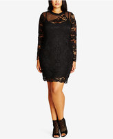 City Chic Trendy Plus Size Mixed-Lace Sheath Dress