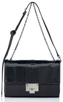 Jimmy Choo 'Rebel' Genuine Snakeskin & Leather Shoulder Bag - Black