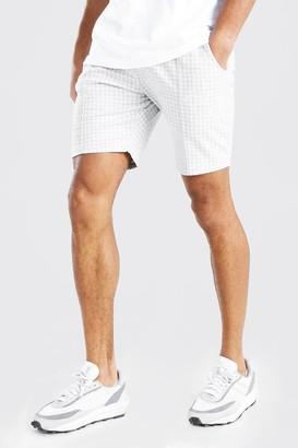 boohoo Mens Grey Dogtooth Pintuck Mid Length Short, Grey