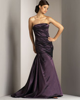 Strapless Gathered-Side Gown, Eggplant