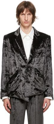Sulvam Grey Velour Short Blazer