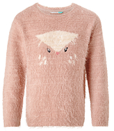 John Lewis Girls' Owl Eyelash Knit Jumper, Sorbet