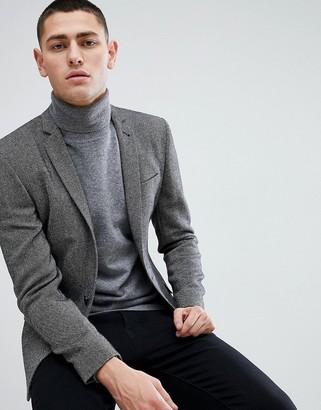ASOS DESIGN super skinny texture blazer in dark gray wool mix
