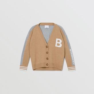 Burberry Childrens B Motif Merino Wool Jacquard Cardigan