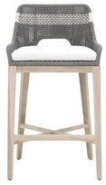 """Bungalow Rose Gregg Outdoor 30.5"""" Teak Patio Bar Stool with Cushion Cushion Color: Dove"""
