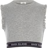 River Island Girls grey ribbed frill sleeve crop top