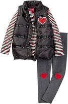 Betsey Johnson Rhinestone Trim Puffy Vest, Stripe Tee, & Legging Set (Little Girls)