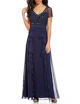 Adrianna Papell Short Sleeve Beaded Bodice Ruffled Gown