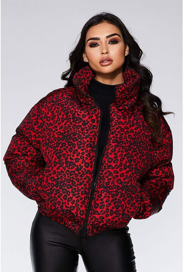 Quiz Red and Black Leopard Print Puffer Jacket