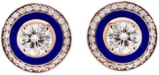 Selim Mouzannar Navy Blue Enamel and Diamond Pave Rose Gold Stud Earrings