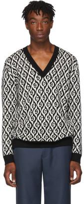Gucci Black and White G Rhombus V-Neck Sweater