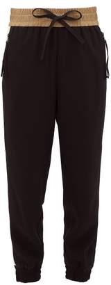 Moncler Grosgrain-trimmed Crepe Track Pants - Womens - Black Multi