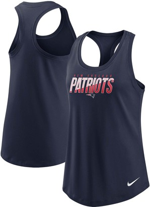 Nike Women's Navy New England Patriots Light Impact Performance Racerback Tank Top