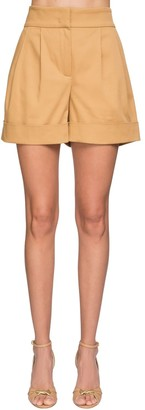 Alberta Ferretti High Waist Cotton Canvas Shorts