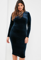 Missguided Plus Size Navy Lace Up Velvet Bodycon Dress