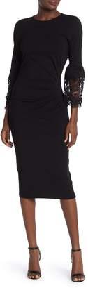 Hale Bob Solid Pleated Lace Bell Sleeve Sheath Dress