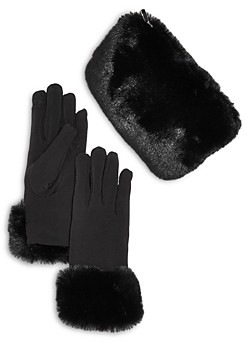 Bloomingdale's Echo Faux Fur Pouch & Gloves Gift Set - 100% Exclusive