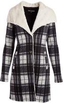 Steve Madden Women's Non-Denim Casual Jackets CREAM/WHITE - Cream& White Plaid Plush-Collar Fleece Button-Up Coat - Women & Plus
