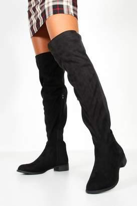 boohoo Over The Knee Elastic Back Boots