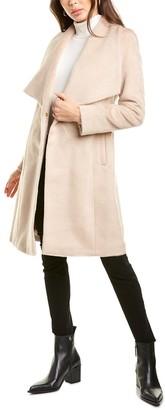 Cole Haan Tie-Waist Wool & Alpaca-Blend Wrap Coat