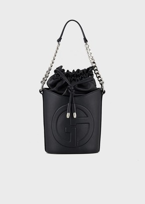 Giorgio Armani Leather Bucket Bag With Embossed Ga Logo