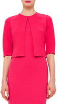 Akris Half-Sleeve Open-Front Bolero, Rose