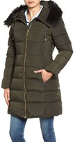 GUESS Women's Faux Fur Trim Hooded Lace-Up Detail Quilted Coat