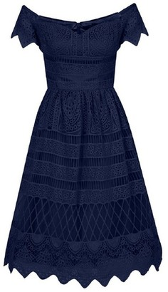 Dorothy Perkins Womens Chi Chi London Navy Crochet Bardot Skater Dress, Navy