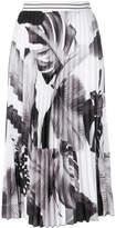 D-Exterior D.Exterior leaf print pleat skirt