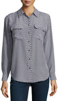 Equipment Long-Sleeve Geometric-Print Blouse, Bright White/Black