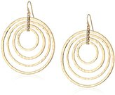 Jessica Simpson Hammered Drop Multi-Gold Hoop Earrings