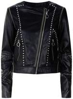 Pinko Collarless Studded Leather Jacket