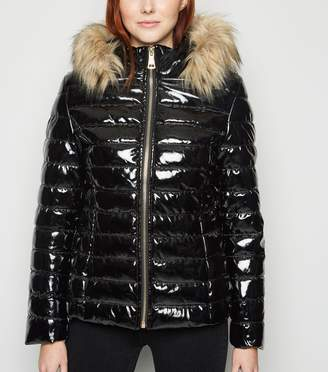 New Look Cameo Rose Coated Faux Fur Trim Puffer Jacket