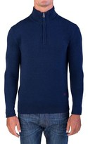 Valentino Men's Zip Neck Sweater Navy Blue.
