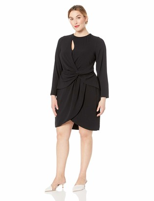 Dress the Population Women's Size COBY Long Sleeve Stretch Crepe Twist Short Dress Plus