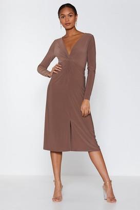 Nasty Gal Womens So Twisted Midi Dress - beige - 6