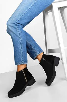 boohoo Zip Shoe Cleated Sole Chelsea Boots