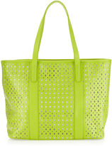 Neiman Marcus Perforated Tote Bag, Lime