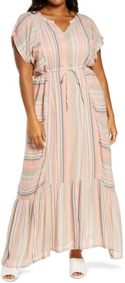 Caslon Stripe Crepe Maxi Dress