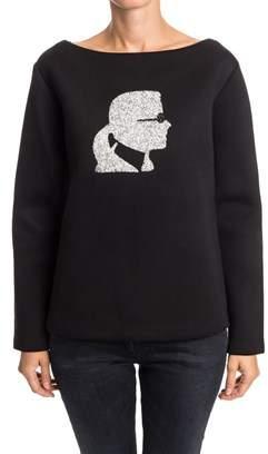 Karl Lagerfeld Women's Black Other Materials Sweatshirt.