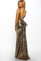 Pink Boutique Born A Star Gold Sequin Frill Back Fishtail Maxi Dress