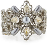 Oscar de la Renta Filigree Cuff Bracelet with Crystals & Pearly Beads