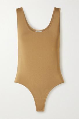 CASASOLA Net Sustain Stretch-knit Thong Bodysuit - Tan