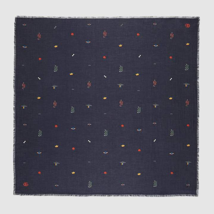 Gucci Cotton modal shawl with symbols