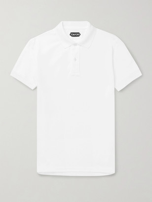 Tom Ford Slim-Fit Garment-Dyed Cotton-Pique Polo Shirt - Men - White