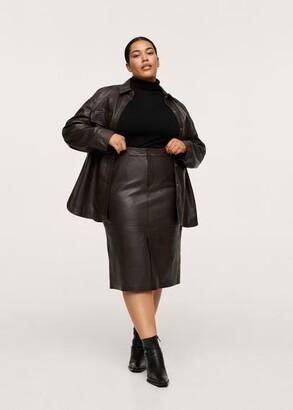 MANGO 100% Leather Midi Skirt